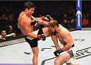 HOUSTON, TX - OCTOBER 03:  (L-R) Joseph Benavidez knees Ali Bagautinov in their flyweight bout during the UFC 192 event at the Toyota Center on October 3, 2015 in Houston, Texas. (Photo by Josh Hedges/Zuffa LLC/Zuffa LLC via Getty Images)