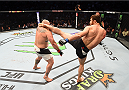 HOUSTON, TX - OCTOBER 03:  (R-L) Ruslan Magomedov kicks Shawn Jordan in their heavyweight bout during the UFC 192 event at the Toyota Center on October 3, 2015 in Houston, Texas. (Photo by Josh Hedges/Zuffa LLC/Zuffa LLC via Getty Images)