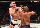 HOUSTON, TX - OCTOBER 03:  (R-L) Daniel Cormier punches Alexander Gustafsson in their UFC light heavyweight championship bout during the UFC 192 event at the Toyota Center on October 3, 2015 in Houston, Texas. (Photo by Josh Hedges/Zuffa LLC/Zuffa LLC via Getty Images)