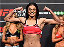 DUBLIN, IRELAND - OCTOBER 23:  Ericka Almeida of Brazil weighs in during the UFC weigh-in at 3Arena on October 23, 2015 in Dublin, Ireland. (Photo by Josh Hedges/Zuffa LLC/Zuffa LLC via Getty Images)