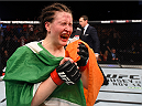 DUBLIN, IRELAND - OCTOBER 24:  Aisling Daly celebrates her victory over Ericka Almeida in their women's strawweight fight during the UFC event at 3Arena on October 24, 2015 in Dublin, Ireland. (Photo by Josh Hedges/Zuffa LLC/Zuffa LLC via Getty Images)