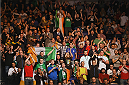 DUBLIN, IRELAND - OCTOBER 24:  Fans cheer as as Neil Seery faces Jon Delos Reyes in their flyweight fight during the UFC event at 3Arena on October 24, 2015 in Dublin, Ireland. (Photo by Josh Hedges/Zuffa LLC/Zuffa LLC via Getty Images)