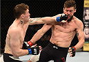 DUBLIN, IRELAND - OCTOBER 24:  (L-R) Darren Till punches Nicolas Dalby in their welterweight fight during the UFC event at 3Arena on October 24, 2015 in Dublin, Ireland. (Photo by Josh Hedges/Zuffa LLC/Zuffa LLC via Getty Images)