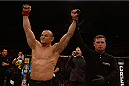 SAO PAULO, BRAZIL - NOVEMBER 07:  Gleison Tibau of Brazil celebrates victory over Abel Trujillo of the United States in their lightweight bout  during the UFC Fight Night Belfort v Henderson at Ibirapuera Gymnasium on November 7, 2015 in Sao Paulo, Brazil.  (Photo by Buda Mendes/Zuffa LLC/Zuffa LLC via Getty Images)