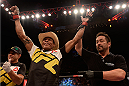 SAO PAULO, BRAZIL - NOVEMBER 07:  Alex Oliveira of Brazil celebrates victory over Piotr Hallmann of Poland in their lightweight bout during the UFC Fight Night Belfort v Henderson at Ibirapuera Gymnasium on November 7, 2015 in Sao Paulo, Brazil.  (Photo by Buda Mendes/Zuffa LLC/Zuffa LLC via Getty Images)