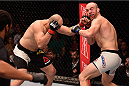 SAO PAULO, BRAZIL - NOVEMBER 07:  Glover Teixeira of Brazil punches Patrick Cummins of the United States in their light heavyweight bout during the UFC Fight Night Belfort v Henderson at Ibirapuera Gymnasium on November 7, 2015 in Sao Paulo, Brazil.  (Photo by Buda Mendes/Zuffa LLC/Zuffa LLC via Getty Images)