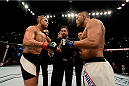 SAO PAULO, BRAZIL - NOVEMBER 07:  Vitor Belfort of Brazil and Dan Henderson of the United States face off prior to their middleweight bout during the UFC Fight Night Belfort v Henderson on November 7, 2015 in Sao Paulo, Brazil.  (Photo by Buda Mendes/Zuffa LLC/Zuffa LLC via Getty Images)