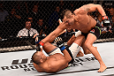 SAO PAULO, BRAZIL - NOVEMBER 07:  Vitor Belfort of Brazil punches Dan Henderson of the United States in their middleweight bout during the UFC Fight Night Belfort v Henderson on November 7, 2015 in Sao Paulo, Brazil.  (Photo by Buda Mendes/Zuffa LLC/Zuffa LLC via Getty Images)