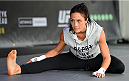 MELBOURNE, AUSTRALIA - NOVEMBER 12:  Valerie Letourneau of Canada holds an open workout for fans and media at Federation Square on November 12, 2015 in Melbourne, Australia. (Photo by Josh Hedges/Zuffa LLC/Zuffa LLC via Getty Images)