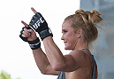MELBOURNE, AUSTRALIA - NOVEMBER 12:  Holly Holm of the United States holds an open workout for fans and media at Federation Square on November 12, 2015 in Melbourne, Australia. (Photo by Brandon Magnus/Zuffa LLC/Zuffa LLC via Getty Images)