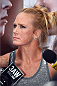 MELBOURNE, AUSTRALIA - NOVEMBER 12:  Holly Holm of the United States interacts with media after an open workout for fans and media at Federation Square on November 12, 2015 in Melbourne, Australia. (Photo by Josh Hedges/Zuffa LLC/Zuffa LLC via Getty Images)