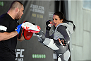 MELBOURNE, AUSTRALIA - NOVEMBER 12:  UFC women's strawweight champion Joanna Jedrzejczyk of Poland holds an open workout for fans and media at Federation Square on November 12, 2015 in Melbourne, Australia. (Photo by Josh Hedges/Zuffa LLC/Zuffa LLC via Getty Images)