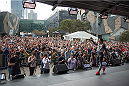 MELBOURNE, AUSTRALIA - NOVEMBER 12:  UFC women's strawweight champion Joanna Jedrzejczyk of Poland holds an open workout for fans and media at Federation Square on November 12, 2015 in Melbourne, Australia. (Photo by Brandon Magnus/Zuffa LLC/Zuffa LLC via Getty Images)