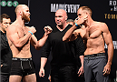 MELBOURNE, AUSTRALIA - NOVEMBER 14: (L-R) Opponents Richard Walsh of Australia and Steven Kennedy of England face off during the UFC 193 weigh-in at Etihad Stadium on November 14, 2015 in Melbourne, Australia. (Photo by Josh Hedges/Zuffa LLC/Zuffa LLC via Getty Images)