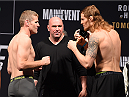 MELBOURNE, AUSTRALIA - NOVEMBER 14: (L-R) Opponents Daniel Kelly of Australia and Steve Montgomery of the United States face off during the UFC 193 weigh-in at Etihad Stadium on November 14, 2015 in Melbourne, Australia. (Photo by Josh Hedges/Zuffa LLC/Zuffa LLC via Getty Images)
