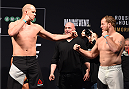 MELBOURNE, AUSTRALIA - NOVEMBER 14: (L-R) Opponents Stefan Struve of the Netherlands and Jared Rosholt of the United States face off during the UFC 193 weigh-in at Etihad Stadium on November 14, 2015 in Melbourne, Australia. (Photo by Josh Hedges/Zuffa LLC/Zuffa LLC via Getty Images)