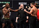MELBOURNE, AUSTRALIA - NOVEMBER 14: (L-R) Opponents Uriah Hall of Jamaica and Robert Whittaker of New Zealand face off during the UFC 193 weigh-in at Etihad Stadium on November 14, 2015 in Melbourne, Australia. (Photo by Josh Hedges/Zuffa LLC/Zuffa LLC via Getty Images)