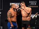 MELBOURNE, AUSTRALIA - NOVEMBER 14: (L-R) Opponents Mark Hunt of New Zealand and Antonio 'Bigfoot' Silva of Brazil face off during the UFC 193 weigh-in at Etihad Stadium on November 14, 2015 in Melbourne, Australia. (Photo by Josh Hedges/Zuffa LLC/Zuffa LLC via Getty Images)