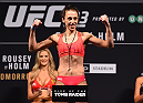 MELBOURNE, AUSTRALIA - NOVEMBER 14: UFC women's strawweight champion Joanna Jedrzejczyk of Poland weighs in during the UFC 193 weigh-in at Etihad Stadium on November 14, 2015 in Melbourne, Australia. (Photo by Josh Hedges/Zuffa LLC/Zuffa LLC via Getty Images)