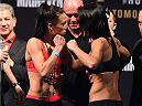 MELBOURNE, AUSTRALIA - NOVEMBER 14: (L-R) Opponents Joanna Jedrzejczyk of Poland and Valerie Letourneau of Canada face off during the UFC 193 weigh-in at Etihad Stadium on November 14, 2015 in Melbourne, Australia. (Photo by Josh Hedges/Zuffa LLC/Zuffa LLC via Getty Images)