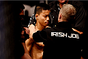 MELBOURNE, AUSTRALIA - NOVEMBER 15:  Ben Nguyen prepares for his fight against Ryan Benoit (not pictured) with cut man Irish Joe before his flyweight bout during the UFC 193 event at Etihad Stadium on November 15, 2015 in Melbourne, Australia.  (Photo by Josh Hedges/Zuffa LLC/Zuffa LLC via Getty Images)