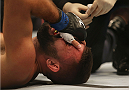 MELBOURNE, AUSTRALIA - NOVEMBER 15:  Peter Sobotta of Poland receives treatment after being pinned down by Kyle Noke of Australia in their welterweight bout during the UFC 193 event at Etihad Stadium on November 15, 2015 in Melbourne, Australia.  (Photo by Pat Scala /Zuffa LLC/Zuffa LLC via Getty Images)