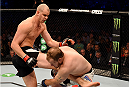 MELBOURNE, AUSTRALIA - NOVEMBER 15:  (L-R) Stefan Struve kicks Jared Rosholt in round one of their heavyweight bout during the UFC 193 event at Etihad Stadium on November 15, 2015 in Melbourne, Australia.  (Photo by Josh Hedges/Zuffa LLC/Zuffa LLC via Getty Images)