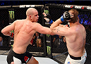 MELBOURNE, AUSTRALIA - NOVEMBER 15:  (L-R) Stefan Struve throws a punch against Jared Rosholt in their heavyweight bout during the UFC 193 event at Etihad Stadium on November 15, 2015 in Melbourne, Australia.  (Photo by Josh Hedges/Zuffa LLC/Zuffa LLC via Getty Images)