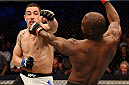 MELBOURNE, AUSTRALIA - NOVEMBER 15:  (L-R) Robert Whittaker throws a left-handed punch against Uriah Hall in their middleweight bout during the UFC 193 event at Etihad Stadium on November 15, 2015 in Melbourne, Australia.  (Photo by Josh Hedges/Zuffa LLC/Zuffa LLC via Getty Images)