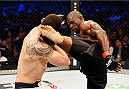 MELBOURNE, AUSTRALIA - NOVEMBER 15: Uriah Hall (R) kicks Robert Whittaker (L) in their middleweight bout during the UFC 193 event at Etihad Stadium on November 15, 2015 in Melbourne, Australia.  (Photo by Josh Hedges/Zuffa LLC/Zuffa LLC via Getty Images)