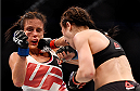 MELBOURNE, AUSTRALIA - NOVEMBER 15:  Joanna Jedrzejczyk (R) lands a right-handed punch against Valerie Letourneau (L) in their UFC women's strawweight championship bout during the UFC 193 event at Etihad Stadium on November 15, 2015 in Melbourne, Australia.  (Photo by Jeff Bottari/Zuffa LLC/Zuffa LLC via Getty Images)