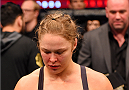 MELBOURNE, AUSTRALIA - NOVEMBER 15:  Ronda Rousey looks on after losing her championship title by KO (head kick and punches) to Holly Holm (not pictured) in two rounds of their UFC women's bantamweight championship bout during the UFC 193 event at Etihad Stadium on November 15, 2015 in Melbourne, Australia.  (Photo by Josh Hedges/Zuffa LLC/Zuffa LLC via Getty Images)