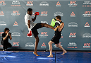 MONTERREY, MEXICO - NOVEMBER 18:  Neil Magny holds an open workout for fans and media at Nave Lewis-Parque Fundidora on November 18, 2015 in Monterrey, Mexico. (Photo by Jeff Bottari/Zuffa LLC/Zuffa LLC via Getty Images)