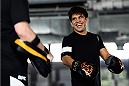 MONTERREY, MEXICO - NOVEMBER 18:  Henry Cejudo holds an open workout for fans and media at Nave Lewis-Parque Fundidora on November 18, 2015 in Monterrey, Mexico. (Photo by Jeff Bottari/Zuffa LLC/Zuffa LLC via Getty Images)