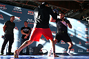 MONTERREY, MEXICO - NOVEMBER 18:  Kelvin Gastelum holds an open workout for fans and media at Nave Lewis-Parque Fundidora on November 18, 2015 in Monterrey, Mexico. (Photo by Jeff Bottari/Zuffa LLC/Zuffa LLC via Getty Images)
