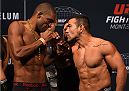 MONTERREY, MEXICO - NOVEMBER 20:  (L-R) Opponents Valmir Lazaro and Michel Prazeres of Brazil face off during the UFC weigh-in at the Arena Monterrey on November 20, 2015 in Monterrey, Mexico. (Photo by Jeff Bottari/Zuffa LLC/Zuffa LLC via Getty Images)
