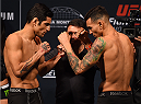 MONTERREY, MEXICO - NOVEMBER 20:  (L-R) Opponents Gabriel Benitez of Mexico and Andre Fili of the United States face off during the UFC weigh-in at the Arena Monterrey on November 20, 2015 in Monterrey, Mexico. (Photo by Jeff Bottari/Zuffa LLC/Zuffa LLC via Getty Images)