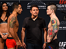 MONTERREY, MEXICO - NOVEMBER 20:  (L-R) Opponents Alejandro Perez of Mexico and Scott Jorgensen of the United States face off during the UFC weigh-in at the Arena Monterrey on November 20, 2015 in Monterrey, Mexico. (Photo by Jeff Bottari/Zuffa LLC/Zuffa LLC via Getty Images)
