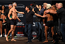 MONTERREY, MEXICO - NOVEMBER 20:  (L-R) Opponents  Horacio Gutierrez of Mexico and Enrique Barzola of Peru face off during the UFC weigh-in at the Arena Monterrey on November 20, 2015 in Monterrey, Mexico. (Photo by Jeff Bottari/Zuffa LLC/Zuffa LLC via Getty Images)