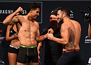 MONTERREY, MEXICO - NOVEMBER 20:  (L-R) Opponents  Erick Montano of Mexico and Enrique Marin of Spain face off during the UFC weigh-in at the Arena Monterrey on November 20, 2015 in Monterrey, Mexico. (Photo by Jeff Bottari/Zuffa LLC/Zuffa LLC via Getty Images)