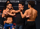 MONTERREY, MEXICO - NOVEMBER 20:  (L-R) Opponents Jussier Formiga of Brazil and Henry Cejudo of the United States face off during the UFC weigh-in at the Arena Monterrey on November 20, 2015 in Monterrey, Mexico. (Photo by Jeff Bottari/Zuffa LLC/Zuffa LLC via Getty Images)