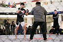 SEOUL, SOUTH KOREA - NOVEMBER 25:  Choi Doo-Ho holds an open workout for fans and media during UFC Fight Night Open Workouts at Times Square on November 25, 2015 in Seoul, South Korea.  (Photo by Han Myung-Gu / Zuffa LLC/Zuffa LLC via Getty Images)
