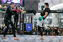 SEOUL, SOUTH KOREA - NOVEMBER 25:  Kim Dong-Hyun aka Dong Hyun Kim holds an open workout for fans and media during UFC Fight Night Open Workouts at Times Square on November 25, 2015 in Seoul, South Korea.  (Photo by Han Myung-Gu / Zuffa LLC/Zuffa LLC via Getty Images)