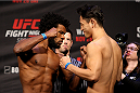 SEOUL, SOUTH KOREA - NOVEMBER 27: (L and R) Dominique Steele and Dong Hyun Kim during the UFC Fight Night weigh-in at the Olympic Park Gymnastics Arena on November 27, 2015 in Seoul, South Korea. (Photo by Mitch Viquez/Zuffa LLC/Zuffa LLC via Getty Images)