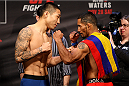 SEOUL, SOUTH KOREA - NOVEMBER 27: (L and R) Yao Zhikui and Fredy Serrano during the UFC Fight Night weigh-in at the Olympic Park Gymnastics Arena on November 27, 2015 in Seoul, South Korea. (Photo by Mitch Viquez/Zuffa LLC/Zuffa LLC via Getty Images)