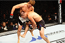 SEOUL, SOUTH KOREA - NOVEMBER 28: Leo Kuntz of the United States of America goes for a takedown on Tae Hyun Bang of South Korea in their  lightweight bout during the UFC Fight Night at the Olympic Park Gymnastics Arena on November 28, 2015 in Seoul, South Korea. (Photo by Mitch Viquez/Zuffa LLC/Zuffa LLC via Getty Images)