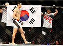 SEOUL, SOUTH KOREA - NOVEMBER 28:  Dong Hyun Kim of South Korea before his  welterweight bout  with Dominic Waters of the United States of America during the UFC Fight Night at the Olympic Park Gymnastics Arena on November 28, 2015 in Seoul, South Korea. (Photo by Mitch Viquez/Zuffa LLC/Zuffa LLC via Getty Images)