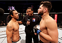 SEOUL, SOUTH KOREA - NOVEMBER 28:  (From L to R) Benson Henderson of the United States of America and Jorge Masvidal of the United States of America face off before their welterweight bout during the UFC Fight Night at the Olympic Park Gymnastics Arena on November 28, 2015 in Seoul, South Korea. (Photo by Mitch Viquez/Zuffa LLC/Zuffa LLC via Getty Images)