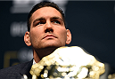 LAS VEGAS, NV - DECEMBER 09:  UFC middleweight champion Chris Weidman interacts with media during the UFC Press Conference inside MGM Grand Garden Arena on December 9, 2015 in Las Vegas, Nevada.  (Photo by Josh Hedges/Zuffa LLC/Zuffa LLC via Getty Images)