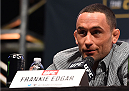 LAS VEGAS, NV - DECEMBER 09:  Frankie Edgar interacts with media during the UFC Press Conference inside MGM Grand Garden Arena on December 9, 2015 in Las Vegas, Nevada.  (Photo by Josh Hedges/Zuffa LLC/Zuffa LLC via Getty Images)